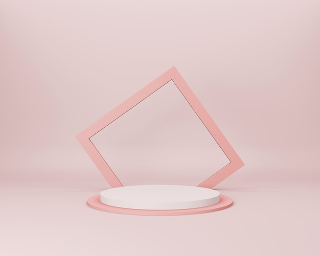 Cena 3d minimalista abstrata com formas geométricas salmão claras em fundo rosa claro