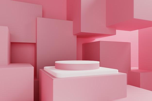 Cena 3d pastel abstrata com pódio rosa e caixa rosa.