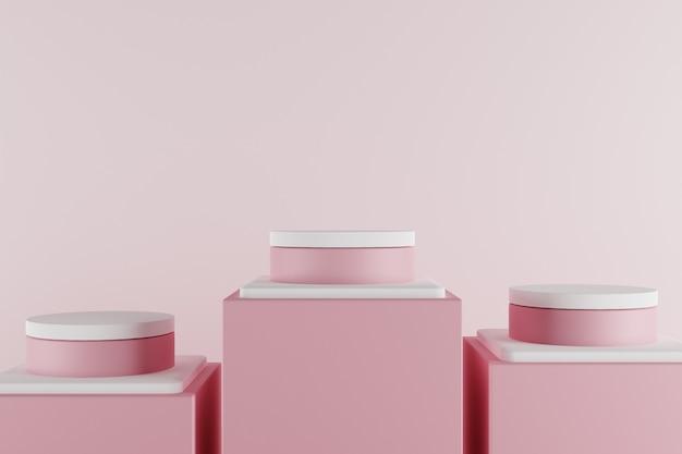 Cena 3d pastel mínima com pódio rosa.