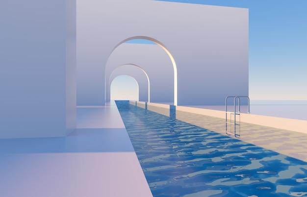 Cena abstrata com formas geométricas, arco com piscina em luz natural do dia. fundo mínimo da paisagem 3d.