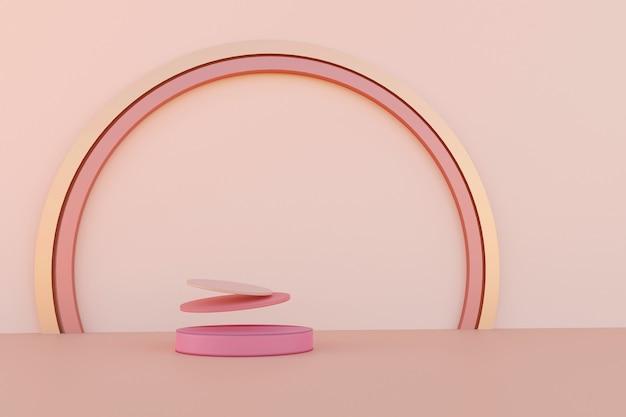 Cena abstrata com pódios de levitação geométrica e anel dourado com arcos atrás sobre a mesa rosa. tabela abstrata. renderização 3d