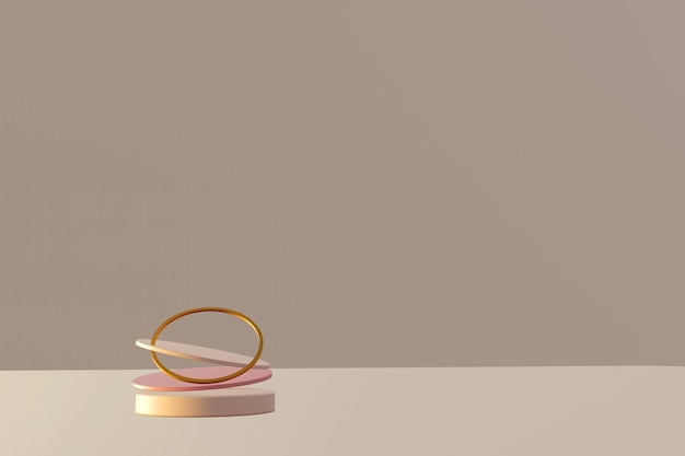 Cena abstrata com pódios de levitação geométrica e anel dourado sobre a mesa bege. tabela abstrata. renderização 3d