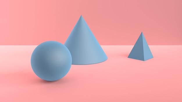 Cena abstrata de formas geométricas. bola, cone e pirâmide azul. luz ambiente suave em cena 3d com superfície rosa suave