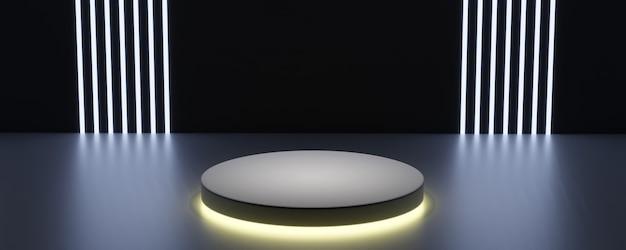Cena abstrata de luz escura. pódio de forma redonda com fundo de iluminação para o produto. renderização 3d.