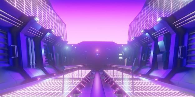 Cena abstrata do corredor da fábrica de ficção científica
