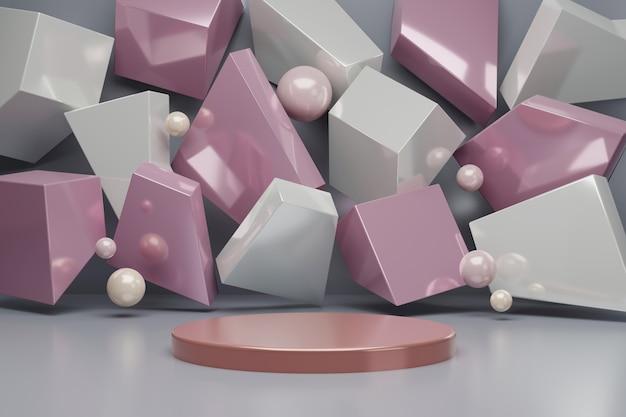Cena abstrata do fundo para a rendição da exposição 3d do produto. espaço em branco do pódio mínimo abstrato para produtos cosméticos de beleza.