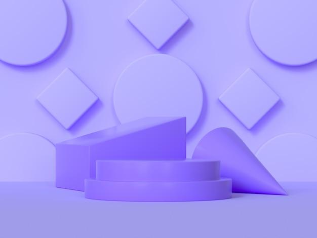 Cena abstrata do pódio roxo forma geométrica renderização em 3d