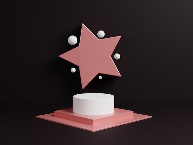 Cena abstrata do projeto 3d com pódio cor-de-rosa e a estrela simbólica.