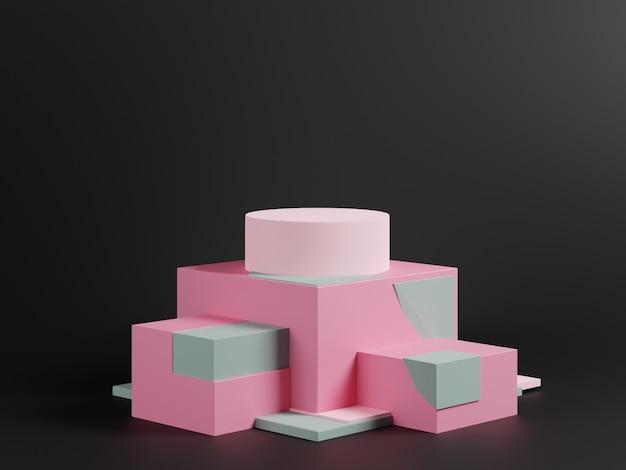 Cena abstrata do projeto 3d com pódio cor-de-rosa no fundo preto.