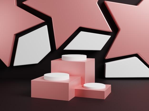 Cena abstrata do projeto 3d com pódio e a estrela cor-de-rosa.