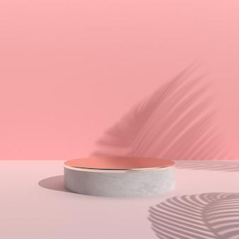Cena abstrata mínima com pódio redondo, ouro e textura concreta no fundo cor-de-rosa, concepção arquitetónica com sombra da natureza. renderização em 3d.