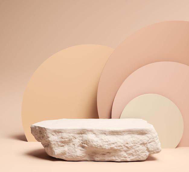 Cena abstrata para apresentação de produtos e embalagens cosméticas, exibição de pódio de pedra, renderização em 3d. Foto Premium