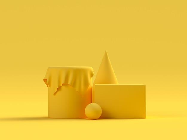 Cena amarela forma geométrica conjunto palco pódio