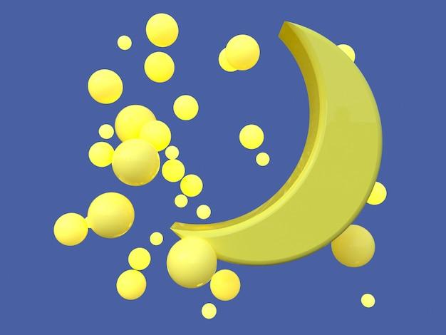Cena azul lua amarela cartoon estilo renderização em 3d