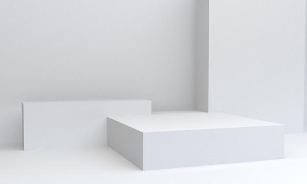 Cena branca geométrica mínima da forma, rendição 3d.