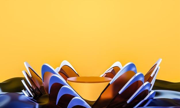 Cena com elegante pódio brilhante para apresentação de simulação em estilo minimalista com espaço de cópia, desenho de fundo abstrato 3d render