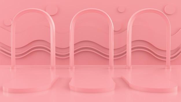 Cena com formas geométricas, arco com um pódio em tons pastel, plataforma pastel, render 3d