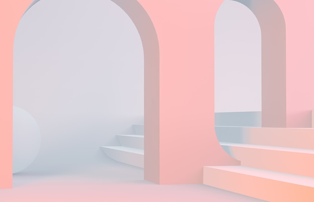 Cena, com, formas geométricas, arco, com, um, pódio