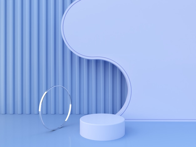 Cena com formas geométricas e líquidas com pódio vazio. formas geométricas