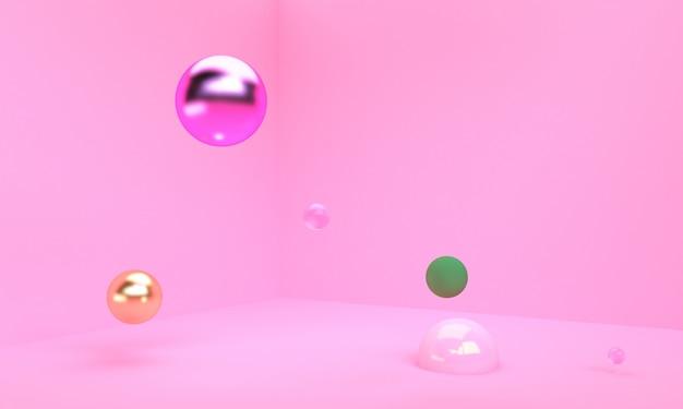 Cena com formas geométricas fundo abstrato mínimo 3d render