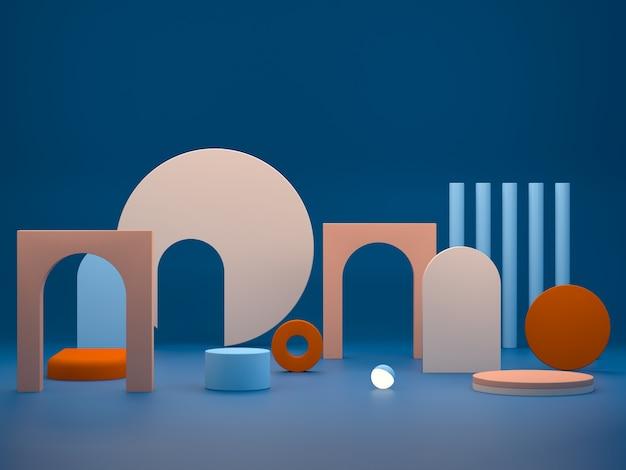 Cena com formas geométricas nas cores azul e laranja.