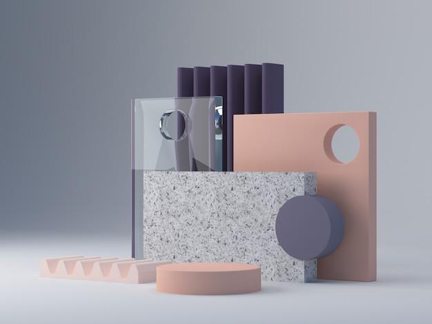 Cena com formas geométricas para mostrar produtos cosméticos.