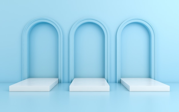 Cena com fundo mínimo, arco com um pódio, render 3d