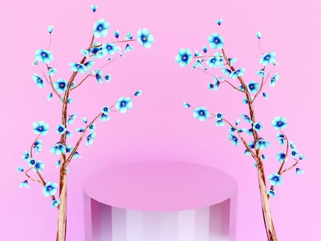 Cena com pódio para apresentação em estilo minimalista 3d render desenho de fundo abstrato
