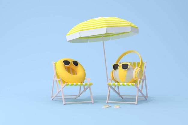 Cena conceitual de despertador amarelo com fone de ouvido na bola inflável e cadeira de praia, renderização em 3d.