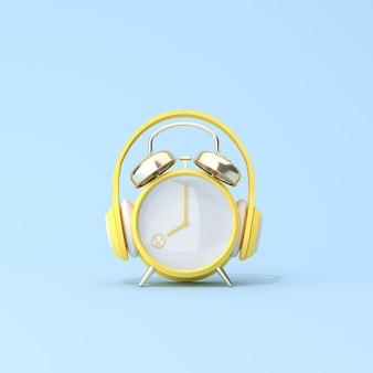 Cena conceitual de despertador amarelo com fone de ouvido, snooze, infeliz no dia de trabalho. renderização 3d.