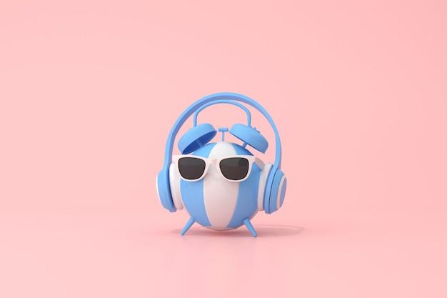 Cena conceitual de despertador azul com fone de ouvido na bola inflável, renderização em 3d.