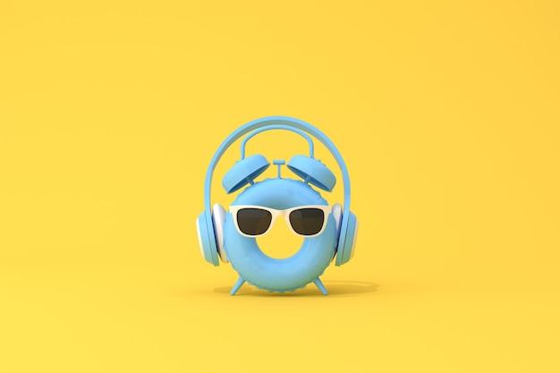 Cena conceitual de despertador azul com fone de ouvido no anel inflável, renderização em 3d.