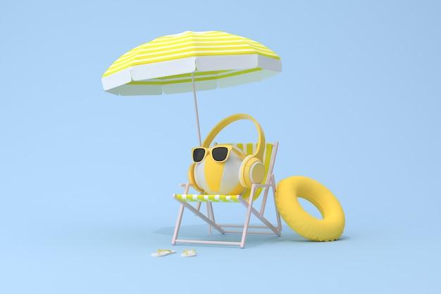 Cena conceitual de fone de ouvido amarelo na bola inflável e cadeira de praia, renderização em 3d.