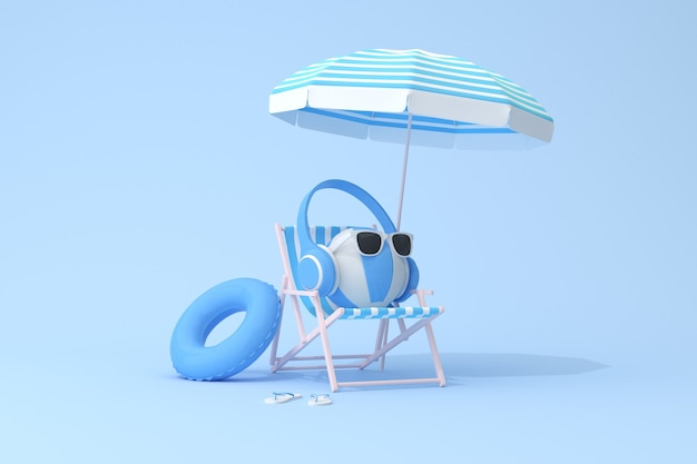 Cena conceitual de fone de ouvido azul na bola inflável e cadeira de praia, renderização em 3d.