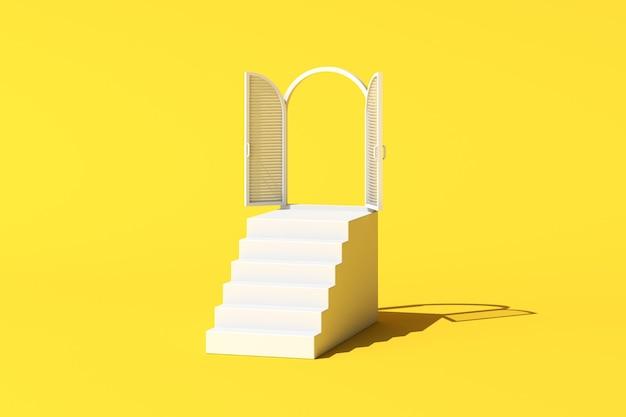 Cena conceitual mínima de janela branca e escada em fundo amarelo. renderização 3d