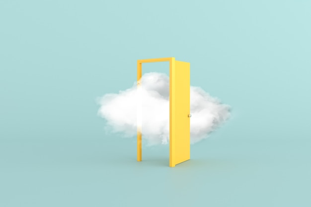 Cena conceitual mínima de nuvem branca flutuante em uma porta amarela. renderização 3d