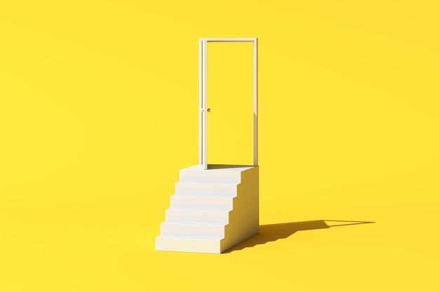 Cena conceitual mínima de porta aberta branca e escada em fundo amarelo. renderização 3d