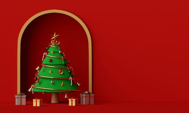 Cena da árvore de natal e presente com cópia espaço renderização em 3d