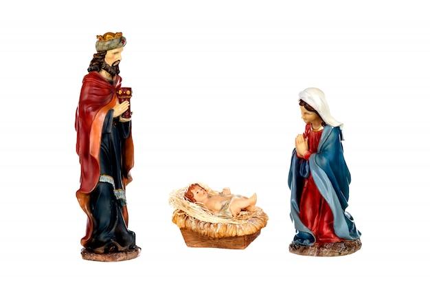 Cena da natividade: maria, josé e o menino jesus Foto Premium