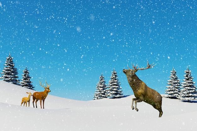 Cena da paisagem do ártico, neve caindo na rena no campo de neve na temporada de inverno