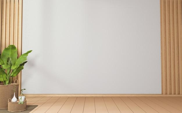 Cena da sala em estilo tropical com a introdução de madeira no design na parede e decorada com vasos de plantas. renderização 3d