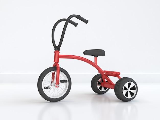 Cena de bicicleta abstrata de triciclo-bicicleta de criança vermelha renderização 3d mínima
