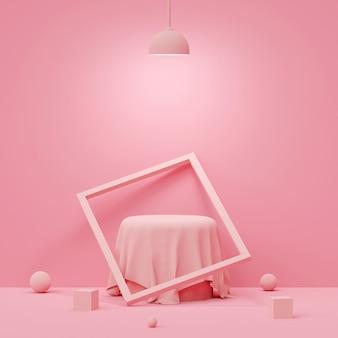 Cena de cor pastel com pódio de forma geométrica com lâmpada no fundo rosa, renderização em 3d