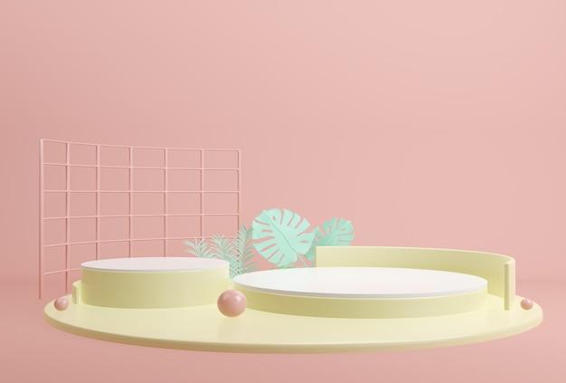 Cena de cor pastel rosa de forma geométrica abstrata mínima para apresentação de produtos cosméticos