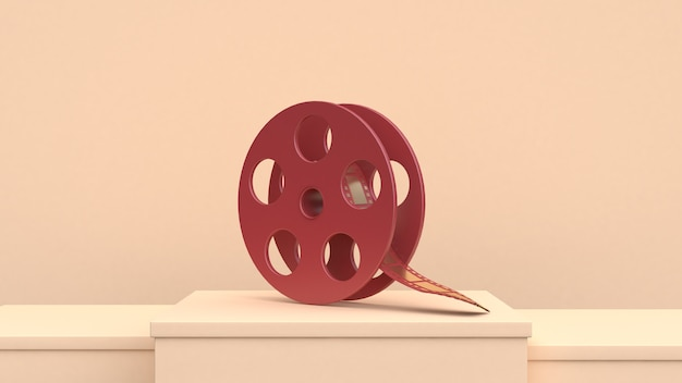 Cena de creme de rolo de filme de ouro vermelho conceito de cineasta de cinema de filme de renderização 3d