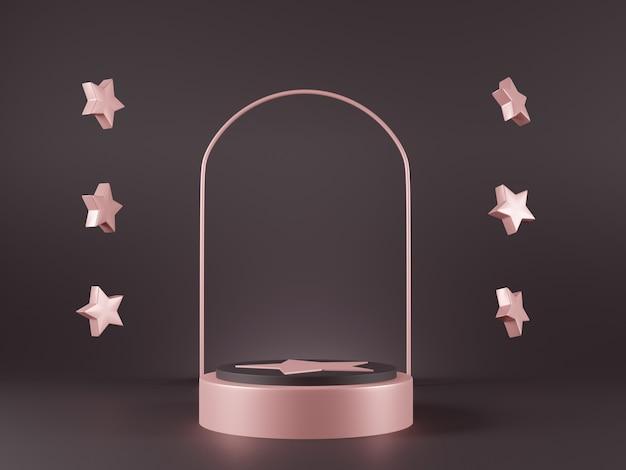 Cena de design minimalista 3d com pódio de metal rosa e flutuante de estrelas.