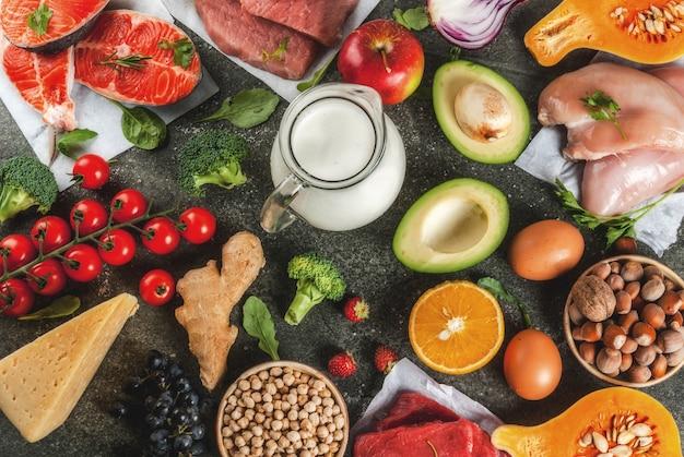 Cena de dieta saudável. ingredientes alimentares orgânicos