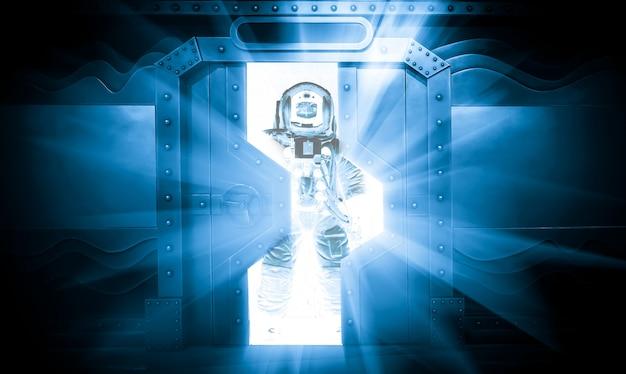 Cena de ficção científica, astronautas em naves espaciais