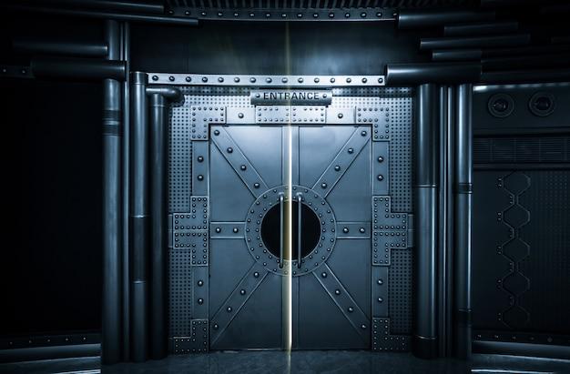 Cena de ficção científica, porta de metal de nave espacial