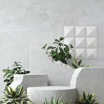 Cena de fundo abstrato para apresentação de produtos e embalagens cosméticas, exibição de pódio de pedra, renderização em 3d.